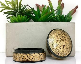 Miniature Box - Trinket Box - Gold Tree Illustration - Vintage - Paper Mache Box - Decorative Box