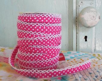 Fuchsia Polka Dot Crochet Bias Tape (No. 3).  Vintagedoor.  Quilt Binding.  Sewing Supplies.  Double Fold Bias Tape.  No bias maker.