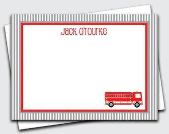 Fire Truck Notecards for Kids / Firetruck Note Cards for Boys / Transportation Stationery Set / Custom Blank Stationary (Item #1702-032FL)