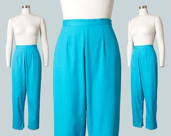Vintage 1950s Capris | 50s Turquoise Blue Cotton High Waisted Cigarette Pants (small)