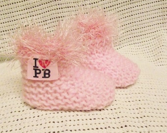 baby boots/ booties with designer ribbon pink with pink furry trim