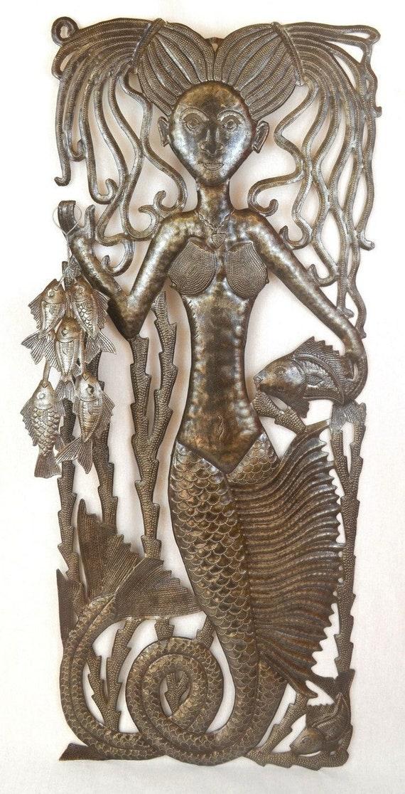 "Mermaid's Catch, Haiti Steel Drum Art, Sealife Home Collection 14.75"" X 34.25"""
