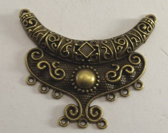 TRIBAL PENDANT , 66 x 55 mms, Tibetan style, half moon, crescent, jane possum bari, jewelry supplies, bead destash supplies,