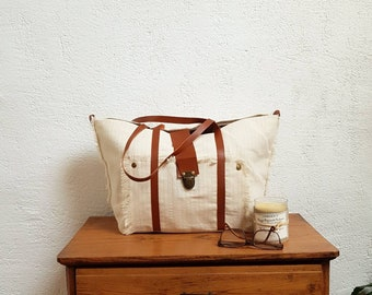 Canvas Pinstripe handles leather Tan Tote
