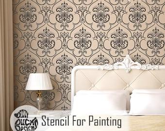KARIM STENCIL - Indian Damask Furniture Wall Craft Stencil for Painting - KARI01