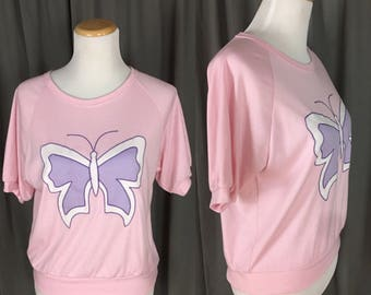 Pink With Purple 1980's Butterfly blouse-top-tee Short Sleeved Shirt