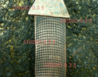 "French Tower Tie Pin, 3 7/8 x 1 1/4"" x 1/2"", roller printed, hammer textured patinated copper, stamped 2009 on the back"
