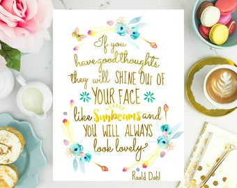 Watercolor turquoise flowers with Roald Dahl quote