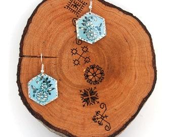 Handmade Turquoise Hexagon Turkish Boho Earrings - Bohemian Findings - Black Copper Flower Festival Jewelry