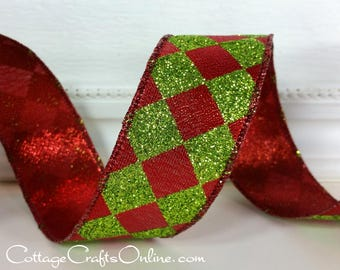 "Wired Ribbon, 1 1/2"" wide, Red and Lime Green Harlequin Glitter - TEN YARD ROLL -  ""Court Jester Christmas""  Metallic Wire Edged Ribbon"