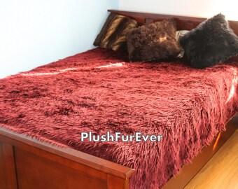 White Mongolian Faux Fur Bedspread Luxury King Queen Twin Size