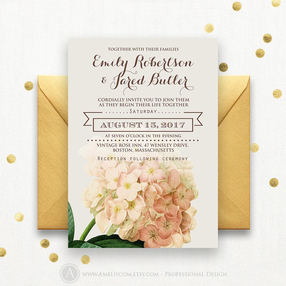 Wedding Invitation Template Download Printable Cream Hydrangea