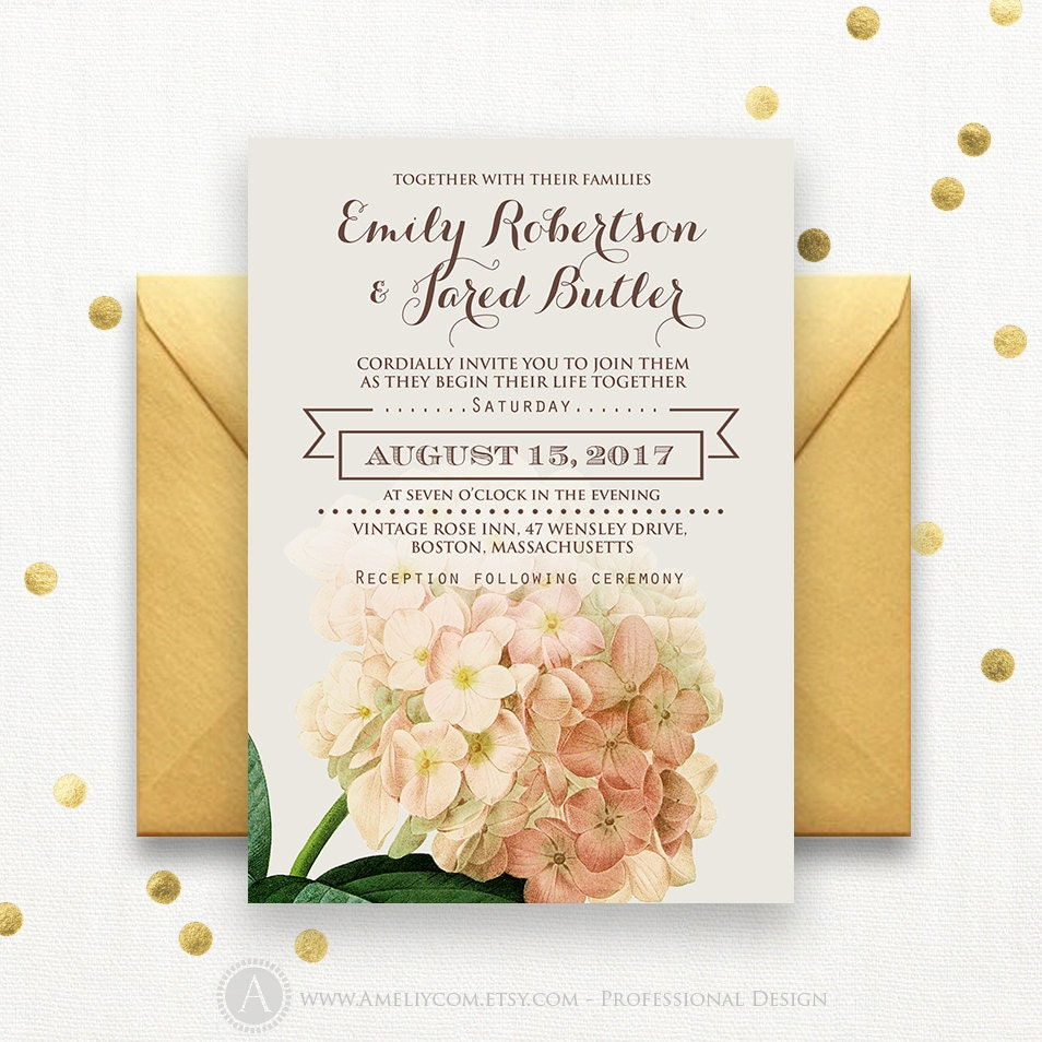 Wedding Invitation Template Download Printable Cream Hydrangea