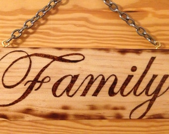 Wood signs and plaques Decorative wood burned - Family
