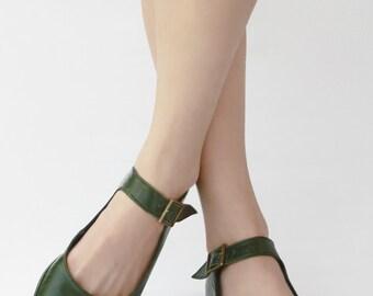 Flat mary janes - Alma libre - Green Handmade ballet flats - CUSTOM FIT