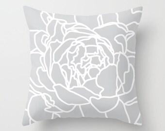 Grey Pillow, Grey Flower Throw Pillow, Flower Pillow Cover, Peony Flower Pillow with insert, Grey Decor, Modern Flower Pillow, Aldari Home