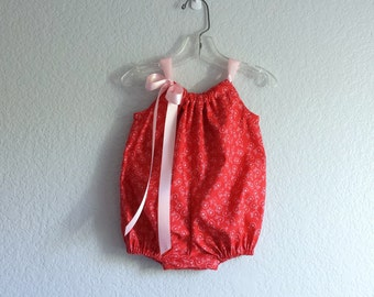 Baby Girl Red Bubble Romper - Red and Pink Infant Sun Suit - Retro Baby Romper -  Baby Girl Summer Clothes - Size Nb, 3m, 6m, 9m, 12m or 18m