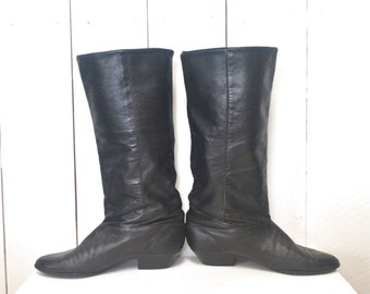 80s Knee High Boots Slouchy Black Leather Vintage Pointed Toe Boots Dexter US Size 7