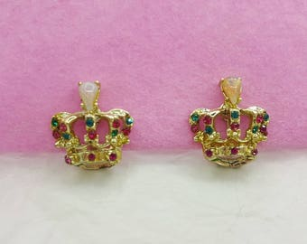 Crown earrings Screw back Opal with Rose and Olivine  Rhinestones Regal Couture