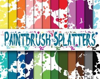Paint Splatters Digital Paper - Paint Textures - Paint Backgrounds - 24 Colors - 12inx12in - Commercial Use -INSTANT DOWNLOAD