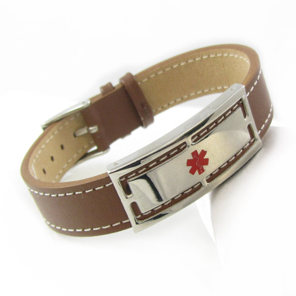 Brown Leather Bracelet dalerte médicale gravure