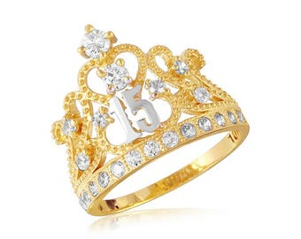 Beautiful gold princess crown ring for sweet 15 or quienceanera.