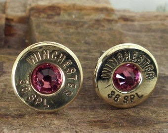 Bullet  Earrings  - Stud Earrings - Ultra Thin - Rose - October Birthstone
