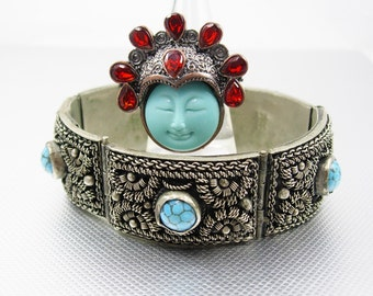 GOddess bracelet & Ring Fabulous Vintage Etruscan Bangle Garnet silver ring Turquoise hallmarked