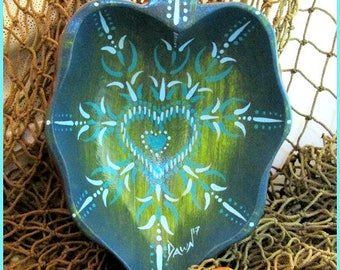 Heart Mandala Bowl, one of a kind handpainted wood trinket bowl, *teal, lime, blues, greens* #1718