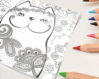 Postcard   Coloring cat lace   15 x 15 cm