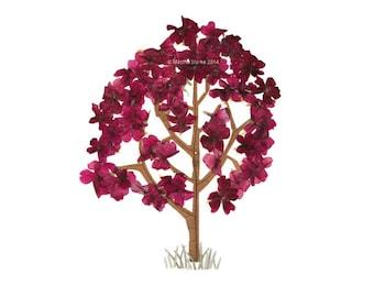 Pressed flower art - Botanical Greeting card - Autumn tree or spring flowering tree - Oshibana - For a gardener, nature lover - Leaves