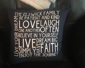 Family Motto Pillow Case