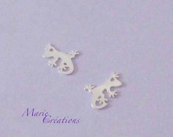 1 gecko lizard - Mini charm 11 mm / sterling silver