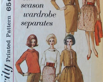 Vintage 1960s Jacket, Blouse, Pants, and Skirts Sewing Pattern - Simplicity 4596 - Bust 38