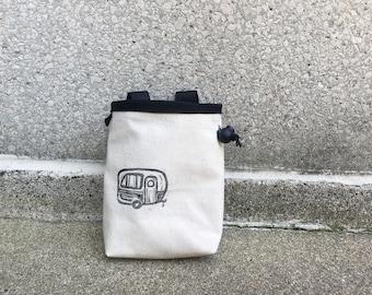 chalk bag, rock climbing chalk bag, chalkbag, climbers, climbing gifts, rock climbers, canvas chalkbag, linoprint, camper
