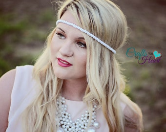 Bridal Boho Headband - Bridal Headband - Boho Headband - Pearl Headband - Forehead Headband - Hippie Headband - White Pearl Headband - Crown