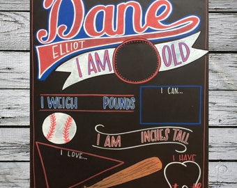 Reusable Baby Milestone Chalkboard/Personalized Photo prop/Baseball Theme