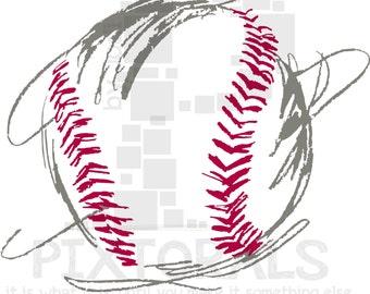 Baseball! EPS file, Vector and original Corel, png, sketchy, Screen Printing, Clip Art