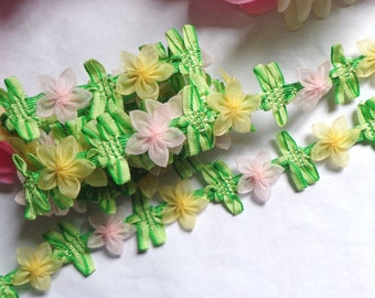 7/8 inch wide colorful lace trim ribbon 22 inch cut