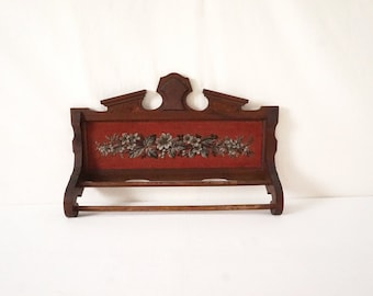Vintage Victorian Beaded Floral Antique Wood Towel Bar in Beautiful Condition