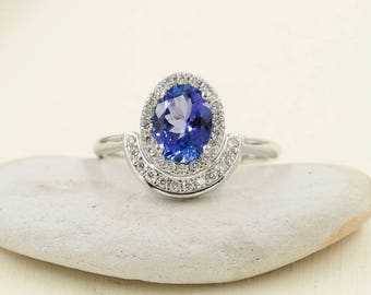 Oval Shaped Tanzanite Engagement Ring.Diamond Engagement Ring.14K Solid White Gold Engagement Ring.0.28ct High Quality Diamonds.Unique Ring.