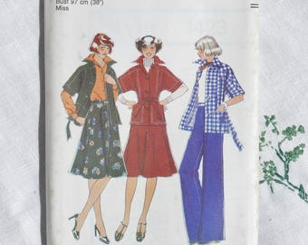 Vintage dressmaking pattern, Style 1423, unlined jacket, skirt and trousers, size 38 inch bust, 1975, uncut
