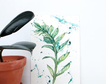 Green Leaves ZZ Plant Original Watercolor Painting