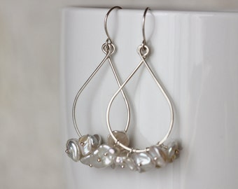Tear Drop Earrings with White Creamy Keishi Keshi Pearls and Argentium Sterling Silver June Birthstone Gemstone Cluster - Priscilla