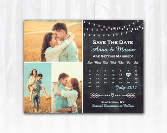 Rustic Save The Date Magnet or Card DIY PRINTABLE Digital File or Print (extra) String Lights Save The Date Chalkboard Save The Date 3 Photo