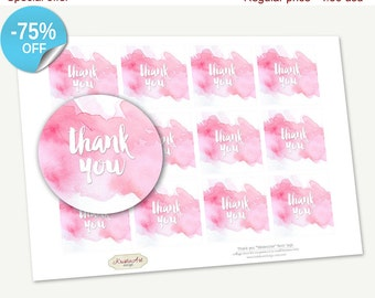 "75% OFF SALE Printable Favor Tags ""Thank you"" Watercolor, Printable Thank You, Cupcake Toppers, Printable Supplie, Sticker, INSTANT download"