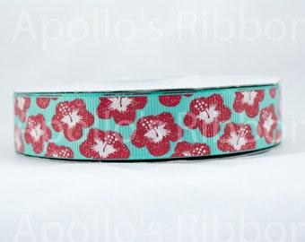 "Tropical Hibiscus Flower ribbon - glitter grosgrain ribbon - 7/8 inch wide - 7/8"" inch - aqua ribbon - bow ribbon - hawaiian ribbon flowers"