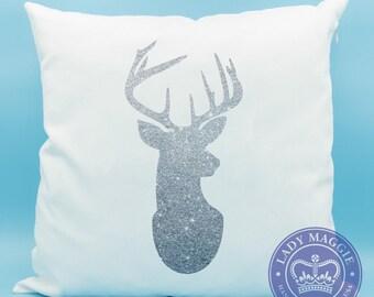 Glitter Deer Head Silhouette Pillow - Silver Deer Head Throw Pillow - Silver Glitter Deer Head - Sparkly Stag Head - Deer Silhouette Cushion