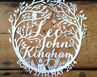 Personalised Papercut Template New Baby Birth Announcement or Christening Gift by Samantha's Papercuts