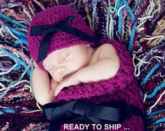 Hat and Cocoon Baby Newborn Photo Prop in WILDBERRY Handmade Crocheted Knitt All Babies Infant Girl Boy Photo Shoot Available more colors